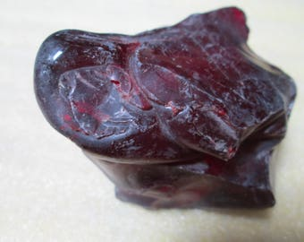 Deep Red Cullet Slag Glass Lapidary Rough Chunk 2-1/2 x 2 x 2 Inches