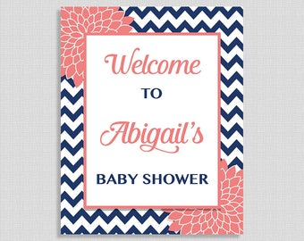 Personalized Baby Shower Welcome Sign, Navy Chevron and Coral Mums, DIY PRINTABLE