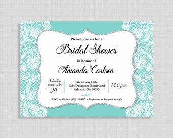 Turquoise Bridal Shower Invitation, Turquoise and White Lace Invite, Wedding Shower Invite, DIY PRINTABLE