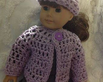 Doll sweater hat set American girl bitty baby reborn next generation lavender purple handmade sweater