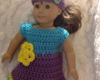 Purple teal yellow  doll dress hat set with flower detail for America girl bitty baby reborn next generation crochet dress clothing