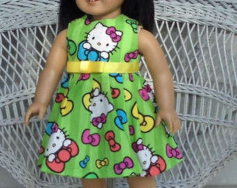 Purr-fect Hello Kitty Dress in Green Handmade to Fit American Girl and Other 18 Inch Dolls