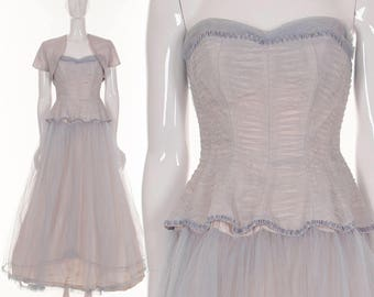 Vintage 1950's Dress Bombshell Purple Lilac Lace Dress Retro Pinup Dress Formal Evening Dress Lace Couture Dress Marilyn Monroe xs s