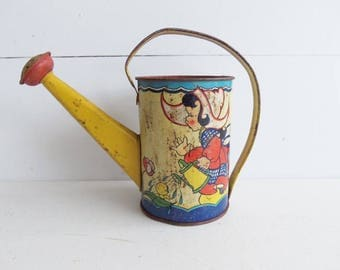 Vintage Ohio Art Toy Watering Can, Tin Lithographed, Dutch Boy and Girl