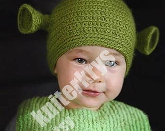 Pdf pattern only knitting yoda hat pattern child adult 3 6 months size hand crocheted green ogre shrek beanie ready for shipping dt1010fo