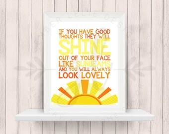 If You Have Good Thoughts They Will Shine | Roald Dahl | Nursery Art | Wall Art | Nursery Decor | 5x7 | 8x10 | 11x14 (GL000092)