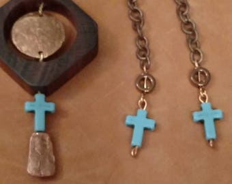 FREE SHIPPING Coco Bolo Wooden Pendant Necklace, Earrings, Matching Set, Copper, Cross Accent, Hammered Penny, Chain Dangle Earrings