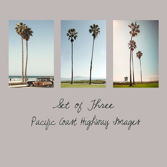 Art, Photos, So Cal Set of 3, Large Wall Art, Photos, Pacific Coast Highway, Woodie, California, Lifeguard,Palms, Vintage Color,Coastal