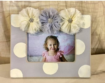 Fun Friday Sale Gray and ivory 4x6 frame eith shabby jeweled flowers