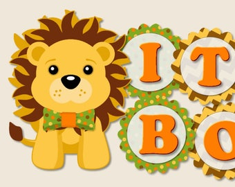 Safari Baby Shower Banner,  Jungle Party Decorations - Invitations, Favors, Banner, Cake Topper, Lion, Elephant, Hippo, Monkey, Zebra, Panda