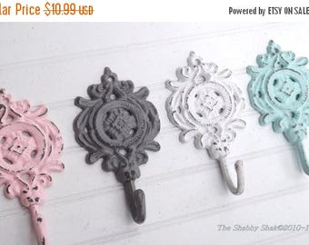 ON SALE Nursery Hook / Necklace Hook / French Country / Shabby Chic Hook / Pink / Gray /Light Blue / White