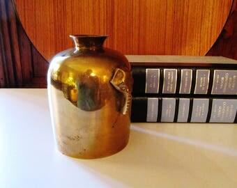 Vintage Brass Elephant Vase, Hollywood Regency Brass, Brass Urn, Palm Beach Decor, Brass Vase, Boho Chic