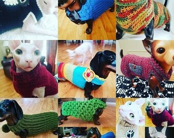 Doxie dog sweaters/Sphinx cat sweaters.