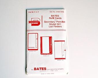 Vintage Bates Refill Cards Secretary Pencilist Model 501 List Finders One Set A to Z