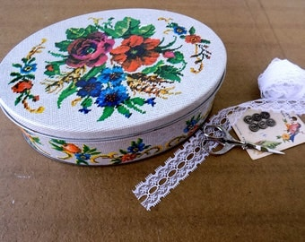 Floral Cross Stitch Needlework Tin. Craft Container. Sewing Room Decor. Metal Storage Box. Home Organization. Shabby Cottage Farmhouse Chic.