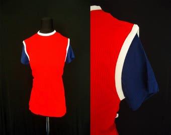 Patriotic Red White Blue Vintage 1970's NOS Women's Shirt M