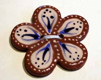 Handmade ceramic buttons - large blue flower button C55