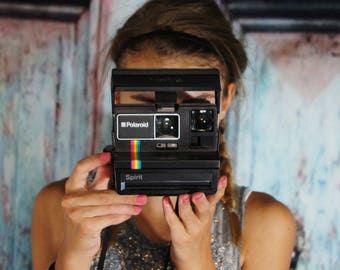 Rainbow OneStep 600 Polaroid Land Camera Vintage