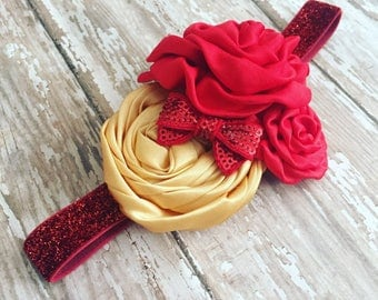 Princess Headband {Newborn, Baby, Toddler, Girl, Adult} Beauty & the Beast + Cake Smash + Photo Prop + Glitter Band + Belle + Disney
