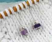 Stitch Markers, Knitting, Amethyst, Semi-Precious Stones, Lavender, Snag Free, Jeweled Tool, Knitting Accessory, Supplies, Gift for Knitters