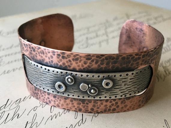 Silver and Copper Cuff, Hammered Copper Jewelry, Metalsmith Bracelet, Cuff Bracelet