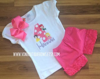 Princess Birthday pick your princess Girls Applique Short Long Sleeve Tank 3 6 9 12 18 months 2T 3T 4T 5T 6 8 10 icing shorts