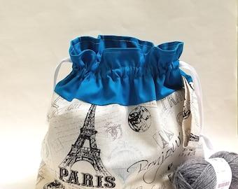 Large Knitting Crochet WIP Project Bag, Sweater size Drawstring Project Bag, Paris Eiffel Fabric