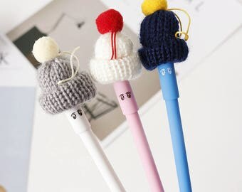 3 Pcs Cute Wool Hat Paper Pen - Gel Ink Pen - Kawaii Pen