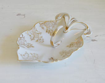 Antique Bone China, Victorian China Dish, Victorian Leaf Dish, Antique Leaf Dish, Victorian Bone China, Gilt China Leaf Dish, Victorian