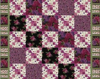Orchid Cross Roads Quilt ePattern, 4775-8, floral lap quilt pattern, floral lap quilt