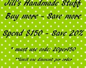 Sale Coupon Code for Jill's Handmade Stuff- 20% Off Order Total, Coworker Gift
