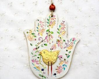 Hamsa Hand Wall Hanging. Hamsa Wall Art. Gilded Bird Hamsa. Hand Painted Flora. Handmade. Home Décor. Chamsa. Khamsa. Free Shipping. Israel
