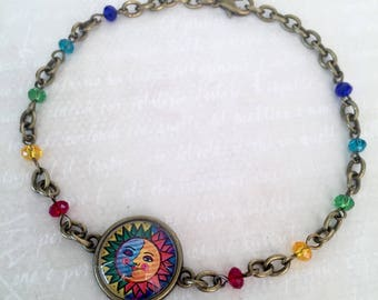 Eclipse anklet, sun and moon, rainbow colors, anklet, bracelet