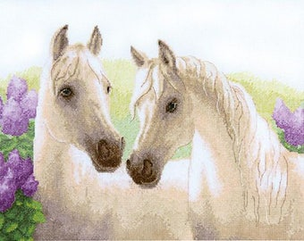 NEW UNOPENED Counted Cross Stitch Kit Charivna Mit  BT-133 Lilac Dawn. Horses