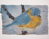 Bluebird No. 36 – pulp painting on handmade cotton / hemp paper (2018), Item No. 235.36