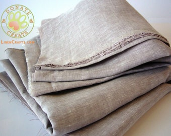 Linen fabric off cuts Sale! Pure linen large assorted remnants for crafts, clothing and home decor; Silky dusty lilac color linen fabric