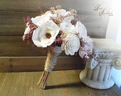Ready to Ship ~ Medium Ivory and Light Blush Sola Flower Bridal Bouquet