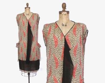 Vintage 20s Silk DRESS / 1920s Fern Leaf Print Dropwaist Dress XS