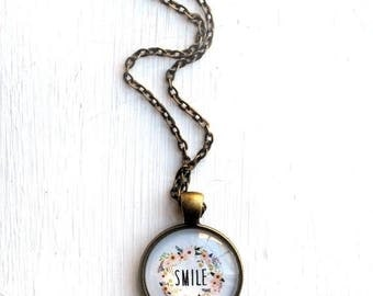 BIRTHDAY SALE Smile Necklace - Inspirational Jewelry - Positive Jewelry - Gift for Friend - Smile Pendant - Motivational Jewelry - Inspirati
