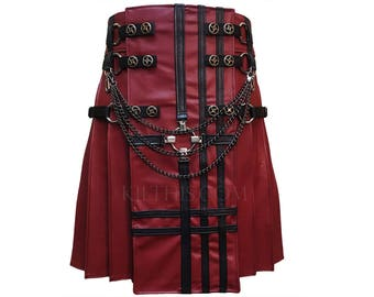 Red Leather Utility Kilt Black Cross Design Leather Double Cross Inside Pockets Spiral Gear Conchos Custom Fit Adjustable Interchange