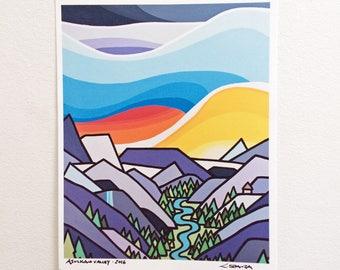 Landscape Art Print-Asulkun Valley-Colorful Sky-Glacier National Park-Canadian Rockies-Rockies-Interior Decor-Home Decor-Office-Perfect Gift