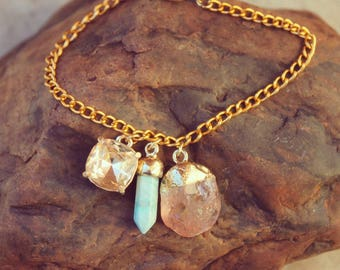Art Deco Old Hollywood Glam Gold Charm Bracelet with Citrine and Turquoise Charms and Champagne Diamond
