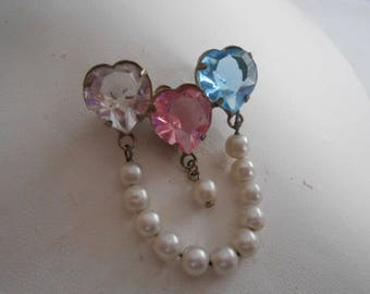 Vintage brooch, crystal hearts and pearls brooch, romantic brooch, love brooch, retro brooch, vintage jewelry