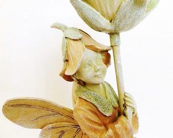 "Fairy Under Flower Figurine ~ 14"" Tall Vintage"