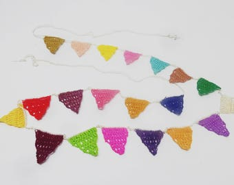 Bunting Banners, crocheted mini banner, triangle banner, Mini banner decor, Panel banner decor, colorful cotton banner