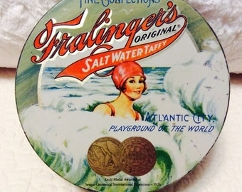Vintage Fralinger's Salt Water Taffy Tin Box 1926 Olympics Atlantic City Advertising Swim Art Deco
