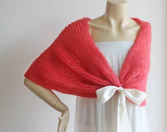 Coral Bridal Cape /Red Wedding Wrap Shrug Bolero/Hand Knit Mohair Scarf -Light and Airy Cape-Ready to Ship