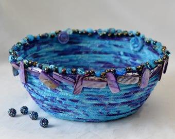 Beautiful Beaded Basket, Handmade Bowl, Hand Coiled Basket, Purple and Aqua Fabric Basket, Modern Chic Fabric Bowl