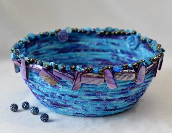 Beautiful Beaded Basket, Handmade Bowl, Hand Coiled Basket, Purple and Aqua Fabric Basket, Modern Chic Fabric Bowl