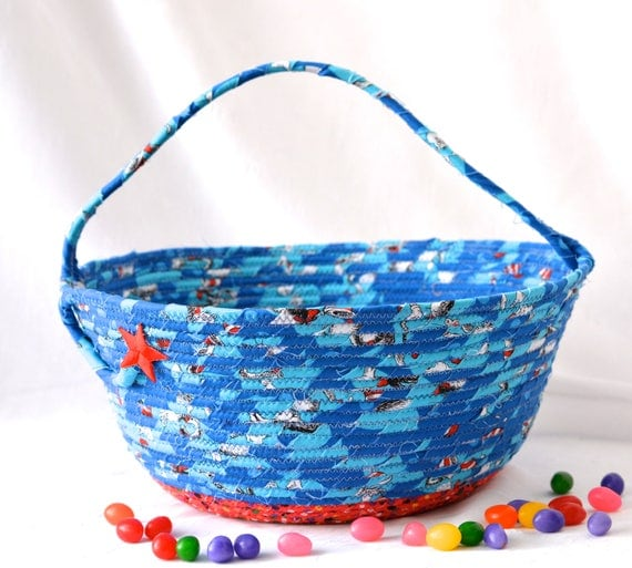 Boy Easter Basket, Handmade Easter Bucket, Baby Boy First Basket, Boy Easter Egg Hunt Bucket, Blue Coiled Fabric Basket, Artisan Quilted